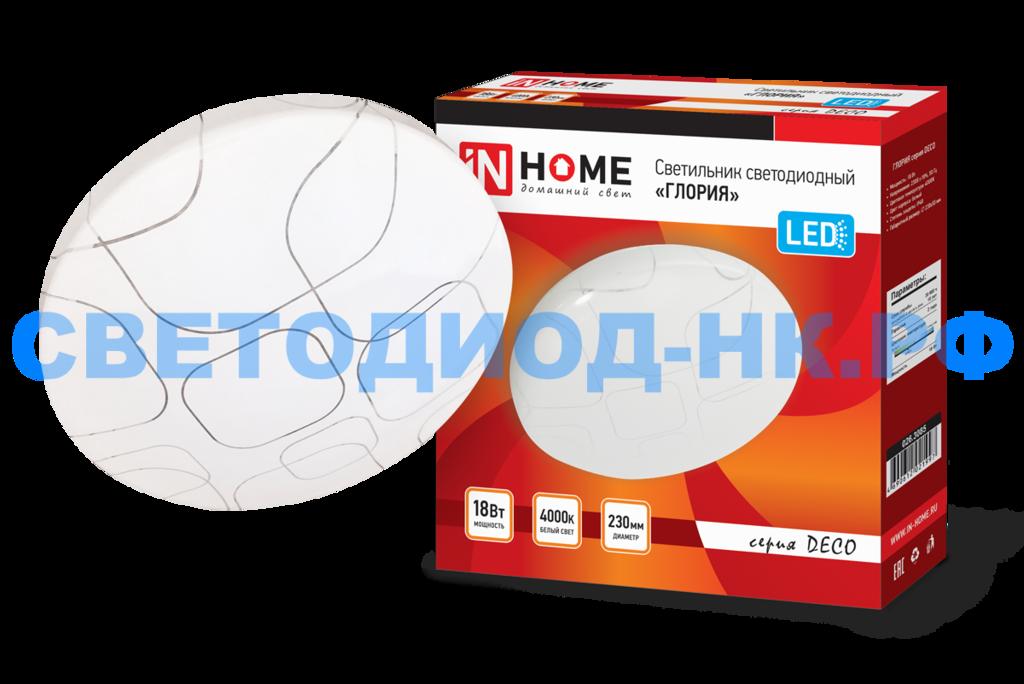 Декоративные светильники: Светильник светодиодный серии DECO 18Вт 230В 4000К 1170лм 230мм ГЛОРИЯ IN HOME в СВЕТОВОД