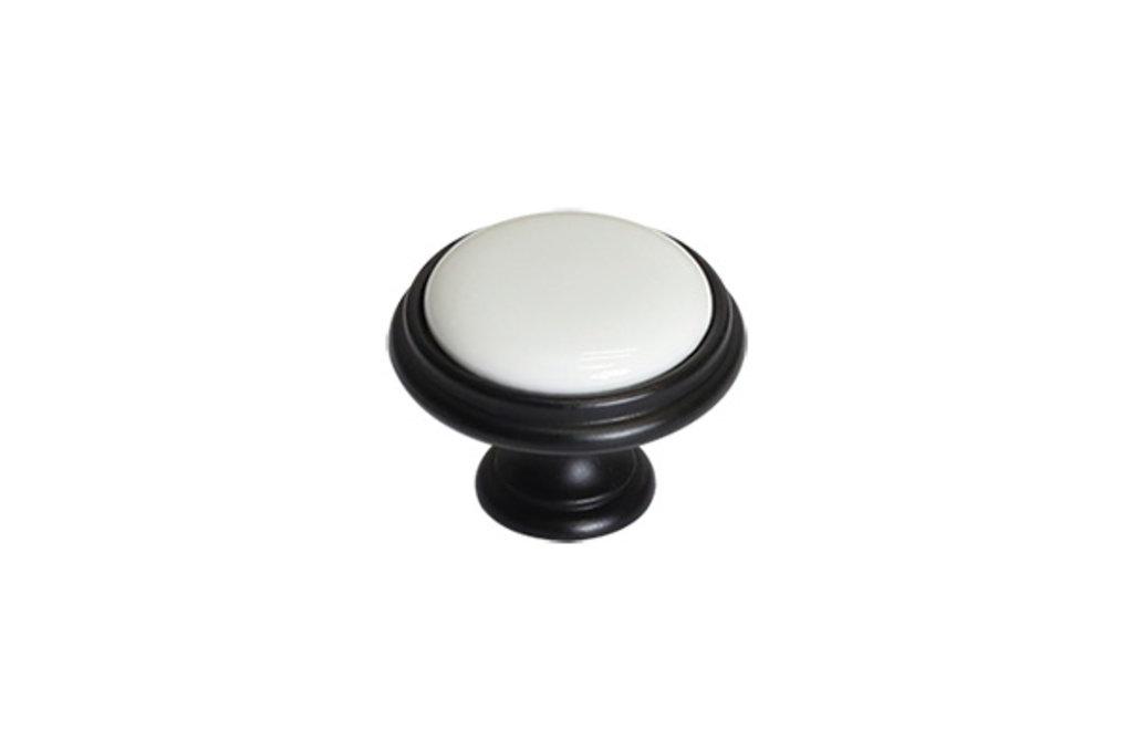 """Мебельная фурнитура """"НОВИНКИ"""": Ручка-кнопка, отделка черный матовый + керамика в МебельСтрой"""