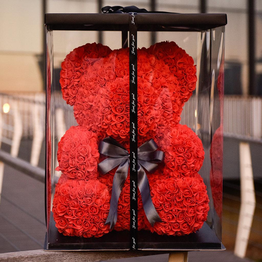 Новинки: Мишка из роз красный 25см в коробке в Мой флакон
