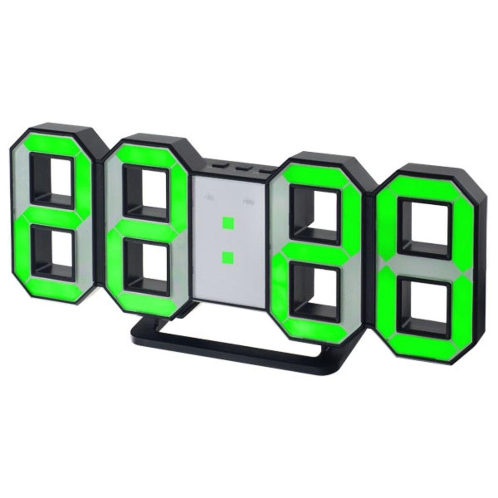 """LED часы-будильники: Часы-будильник   LED """"LUMINOUS"""", чёрный корпус / зелёная подсветка ( Perfeo PF-663) в A-Центр Пульты ДУ"""