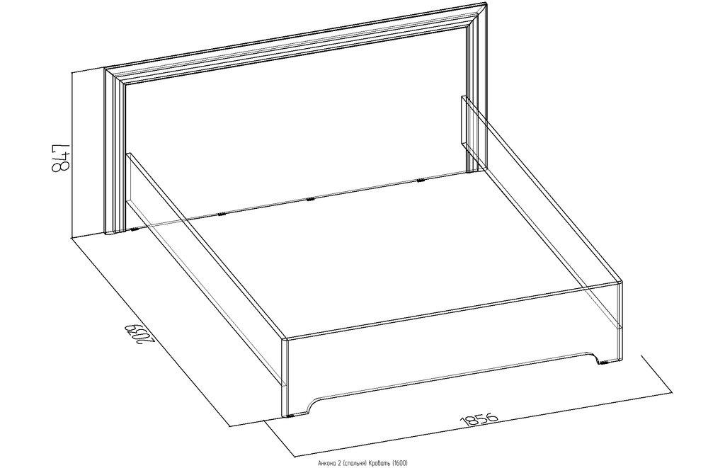 Кровати: Кровать Анкона 2 (1600, орт. осн. металл) в Стильная мебель