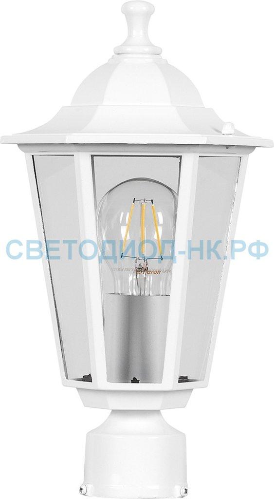 Садово-парковые светильники: 6103 60W 230V E27 170*170*310мм белый на столб в СВЕТОВОД