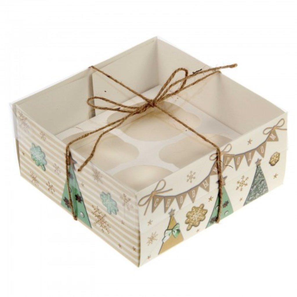 """Упаковка: Коробка для 4 капкейков """"С Новым Годом"""" в ТортExpress"""