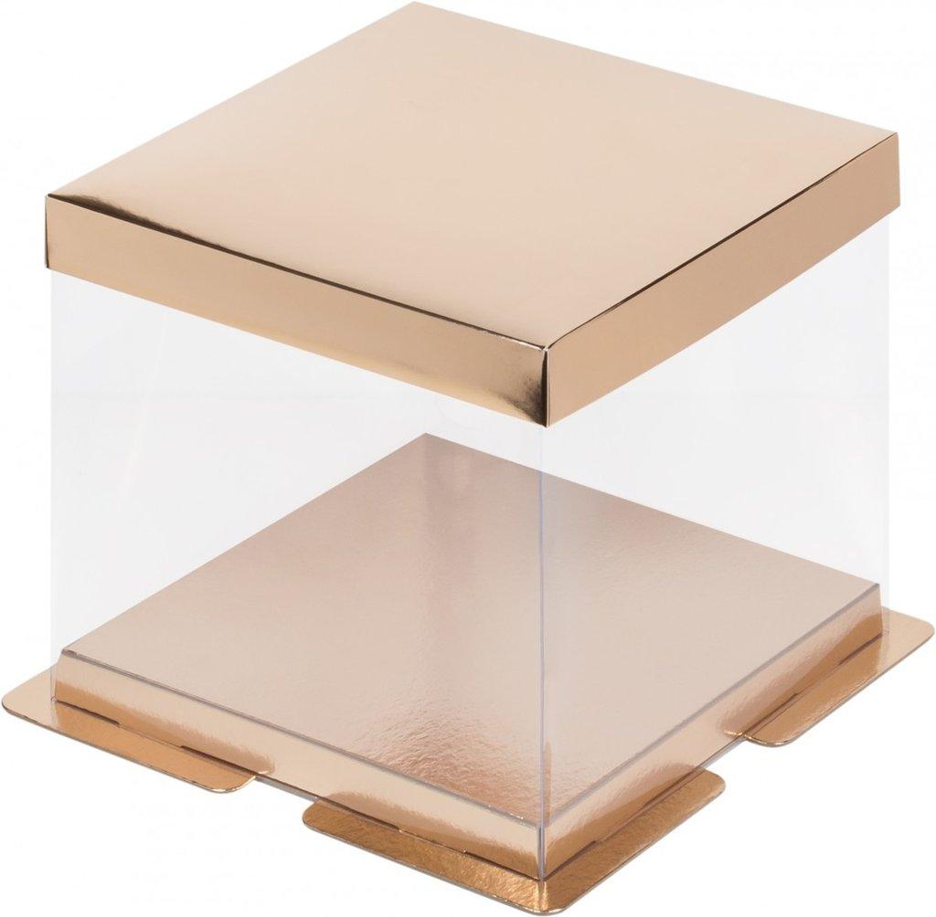 Коробки для тортов: Коробка под торт ПРЕМИУМ  260х260х280 ЗОЛОТО в ТортExpress