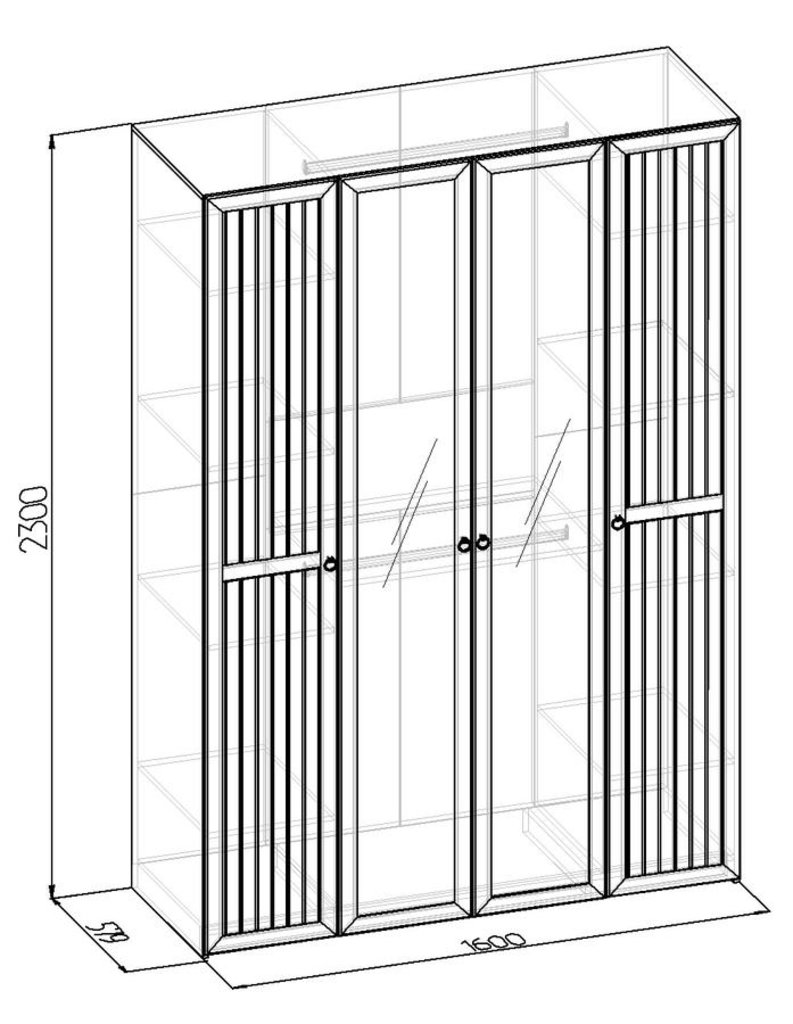 Шкафы для одежды и белья: Шкаф для одежды и белья Марсель 555 в Стильная мебель