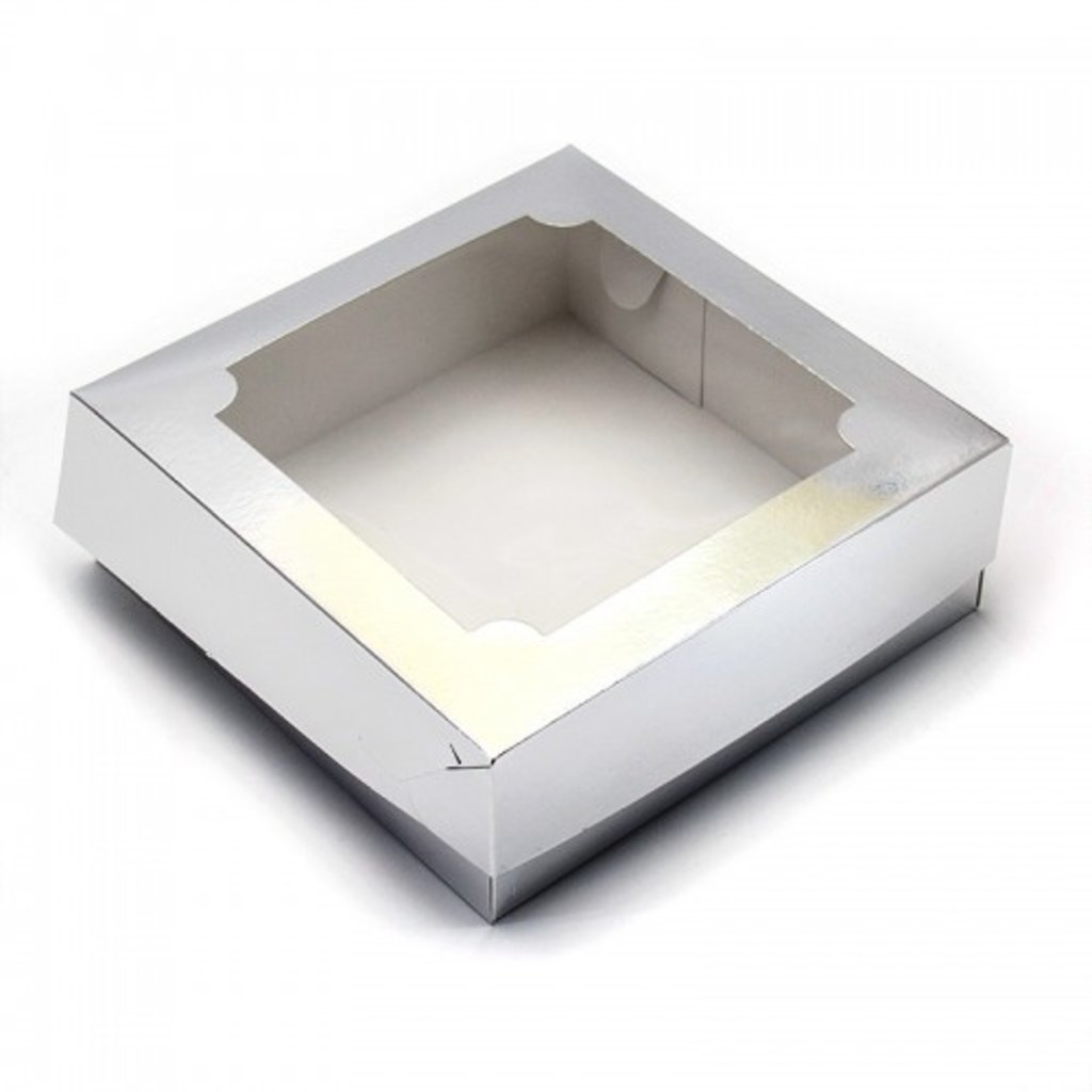 Упаковка: Коробка под зефир и печенье с окошком СЕРЕБРО в ТортExpress