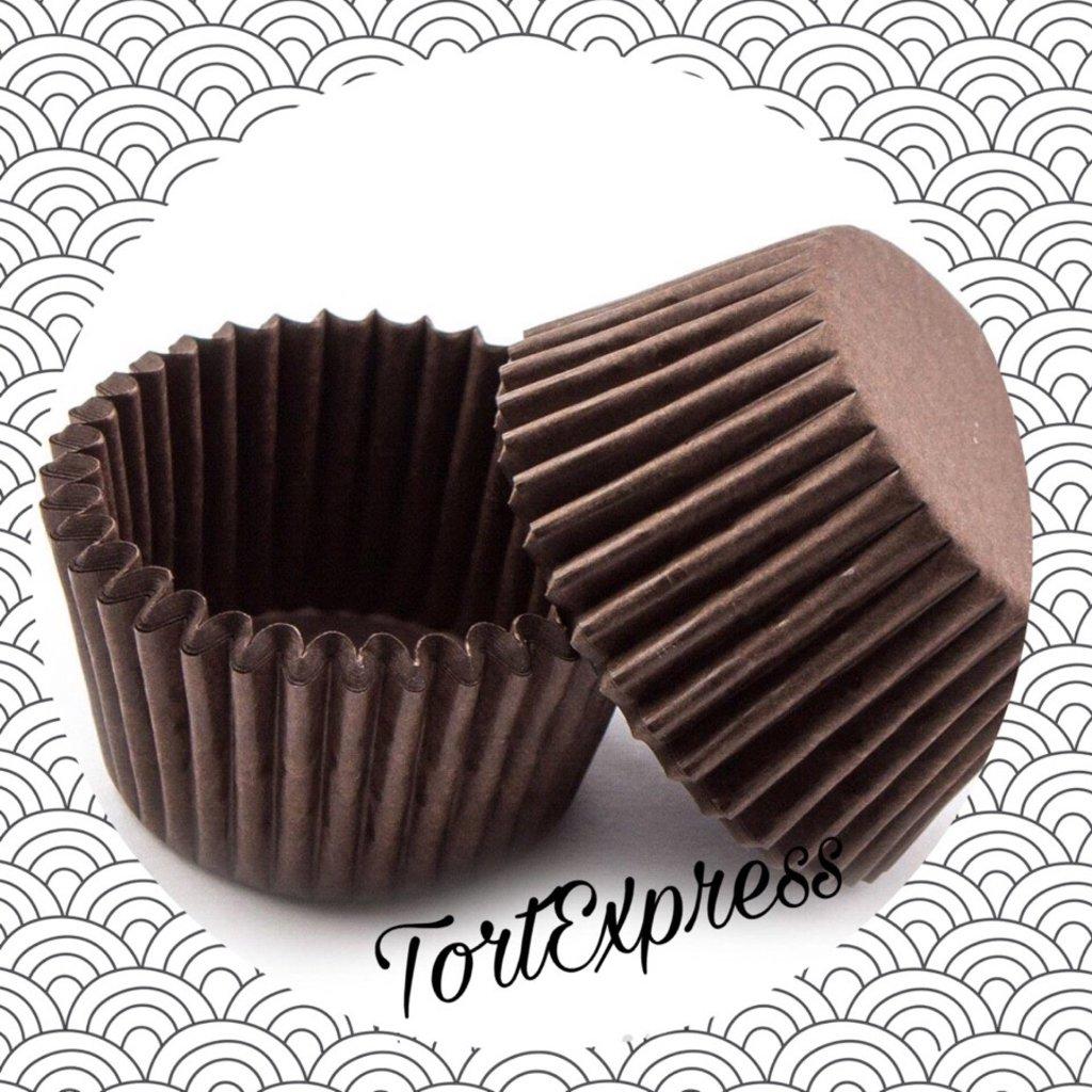 Формы бумажные для выпекания маффинов, пирогов, куличей: Тарталетка бумажная 1А (коричневая) 22х16 мм 2000штук в ТортExpress