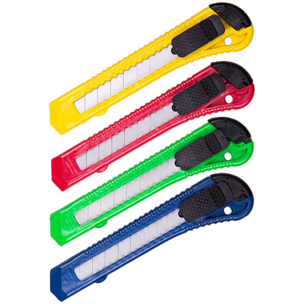 Ножи канцелярские, резаки, ножницы: Нож канцелярский 18мм OfficeSpace, с фиксатором, CUT_18_1368 в Шедевр, художественный салон