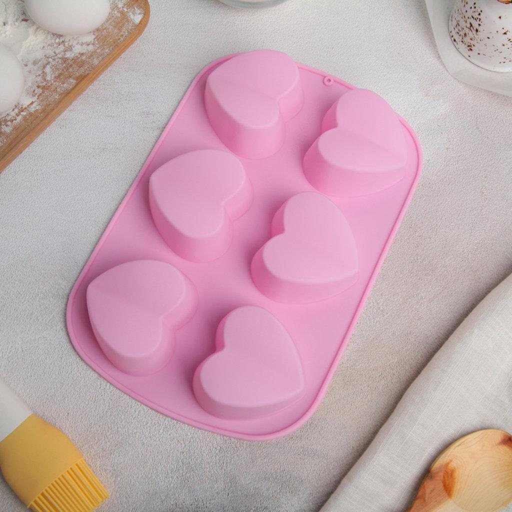 Силиконовые формы для выпечки: Форма для выпечки Сердце пополам 6 ячеек в ТортExpress