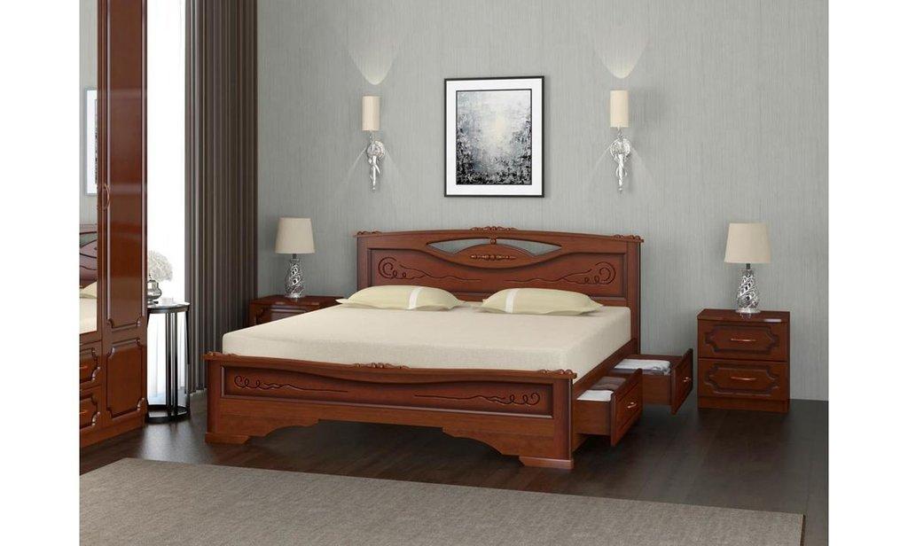 Кровати: Кровать Елена-3 с ящиками (массив) в Уютный дом