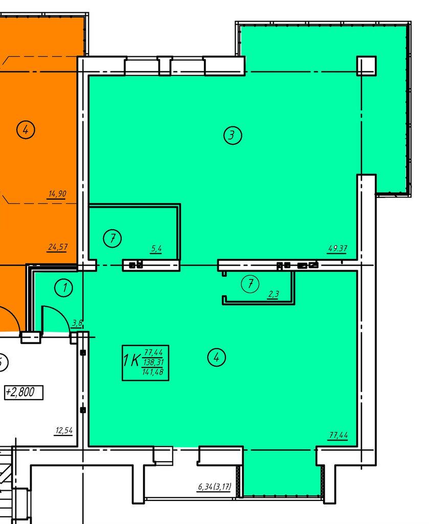 Второй этаж: Однокомнатная квартира (№4) в Социум, ООО