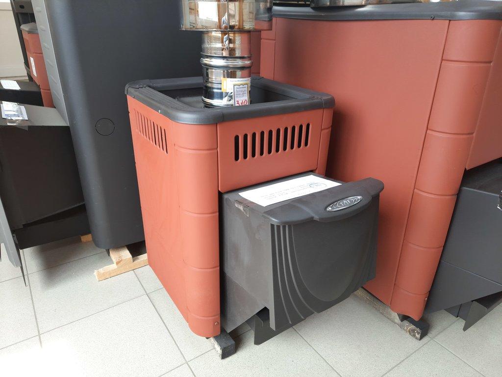 Печи и дымоходы: Печь для бани ТМФ Оса Carbon дверца антрацит терракота, конвекционная, конструкционная сталь 4 мм в Погонаж