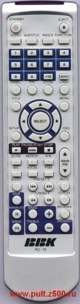BBK: Пульт BBK RC-78 ( DVD-театр ) оригинал в A-Центр Пульты ДУ