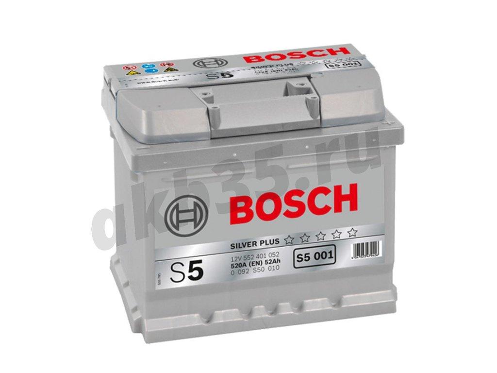 Аккумуляторы: BOSCH 52 А/ч Обратный Низкий S5 001 SILVER PLUS (552 401 052) в Планета АКБ