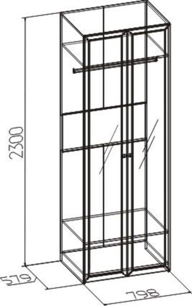 Шкафы для одежды и белья: Шкаф для одежды Бриз 54 (Зеркало+Зеркало) в Стильная мебель