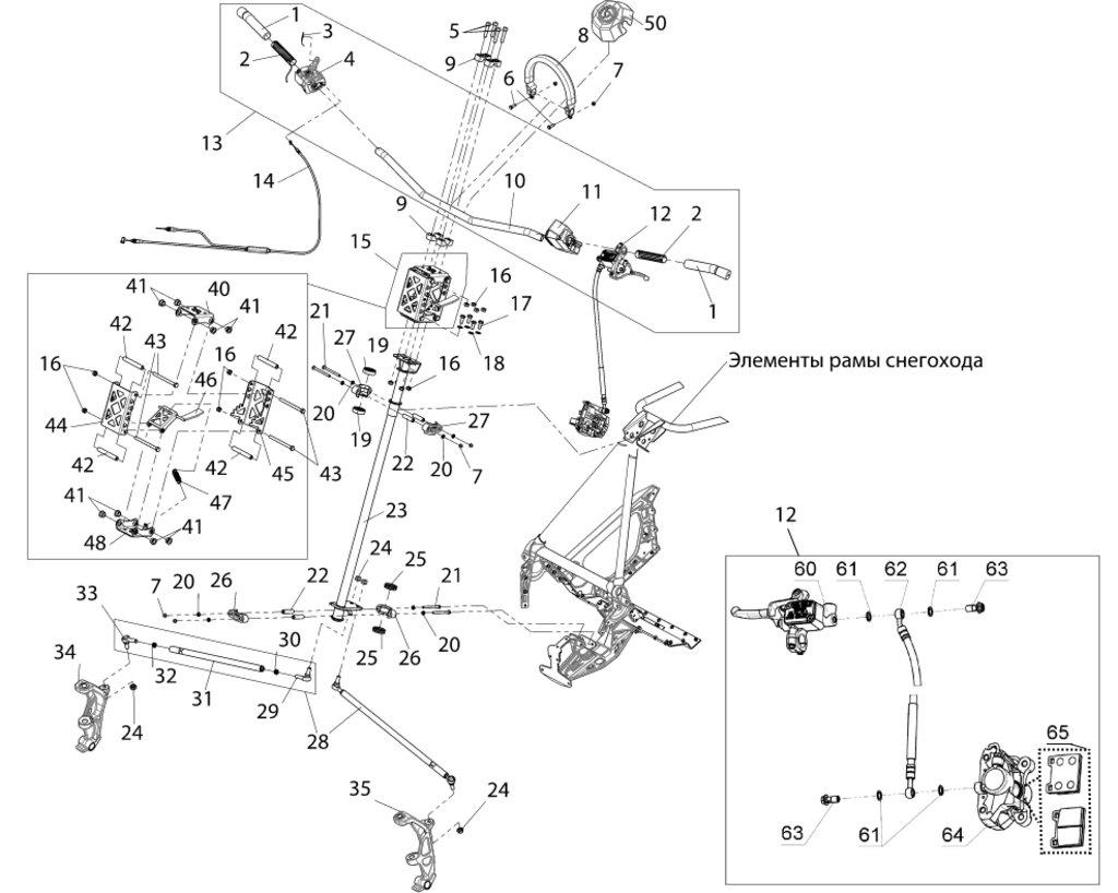 Запчасти для снегоходов РМ: Трос газа двойной BW-H113 в Базис72