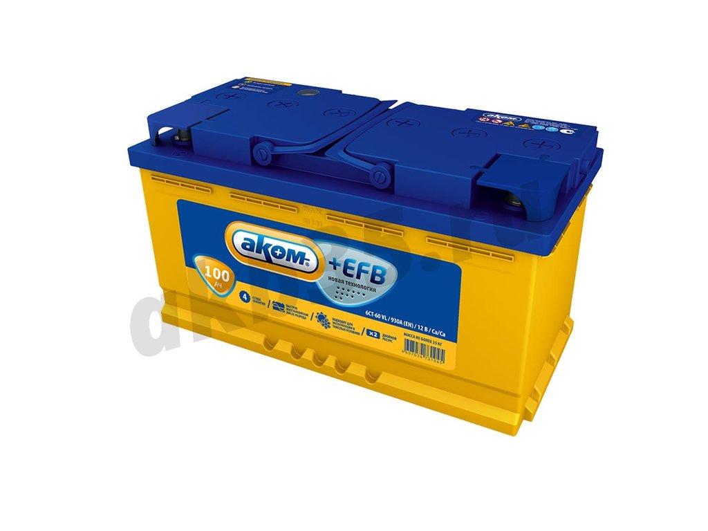 Аккумуляторы: АКОМ 100 А/ч Прямой EFB в Планета АКБ