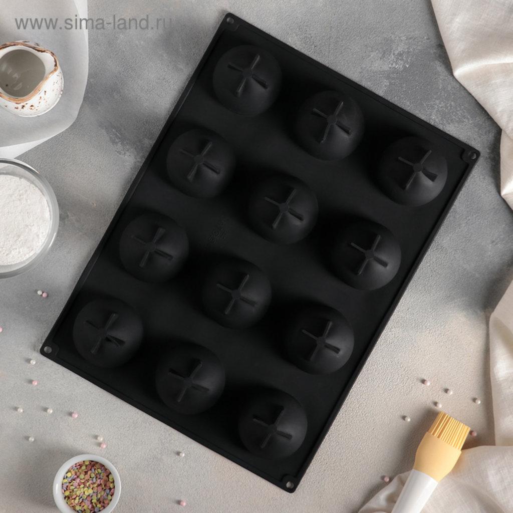 3d формы: Форма для муссовых десертов и выпечки 40×30 см «Портофино», 12 ячеек (7×7см), цвет чёрный в ТортExpress