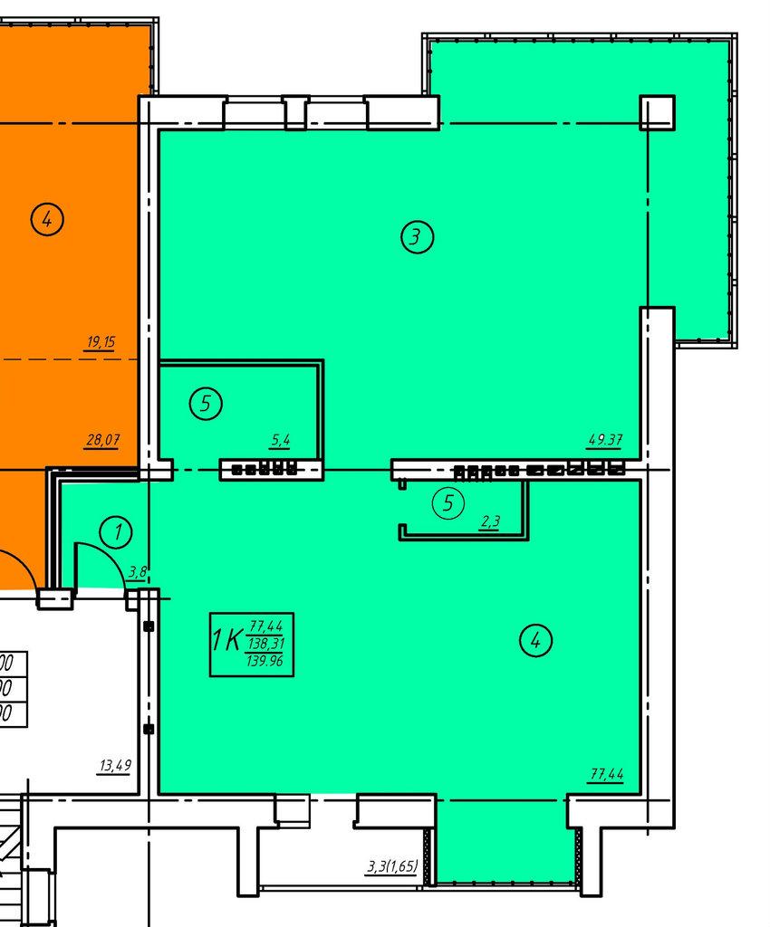 Пятый этаж: Двухкомнатная квартира (№19) в Социум, ООО
