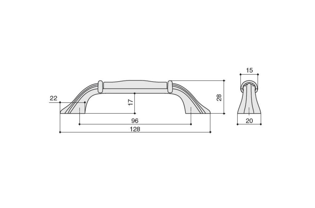 """Мебельная фурнитура """"НОВИНКИ"""": Ручка-скоба 96мм, отделка черный матовый + керамика в МебельСтрой"""