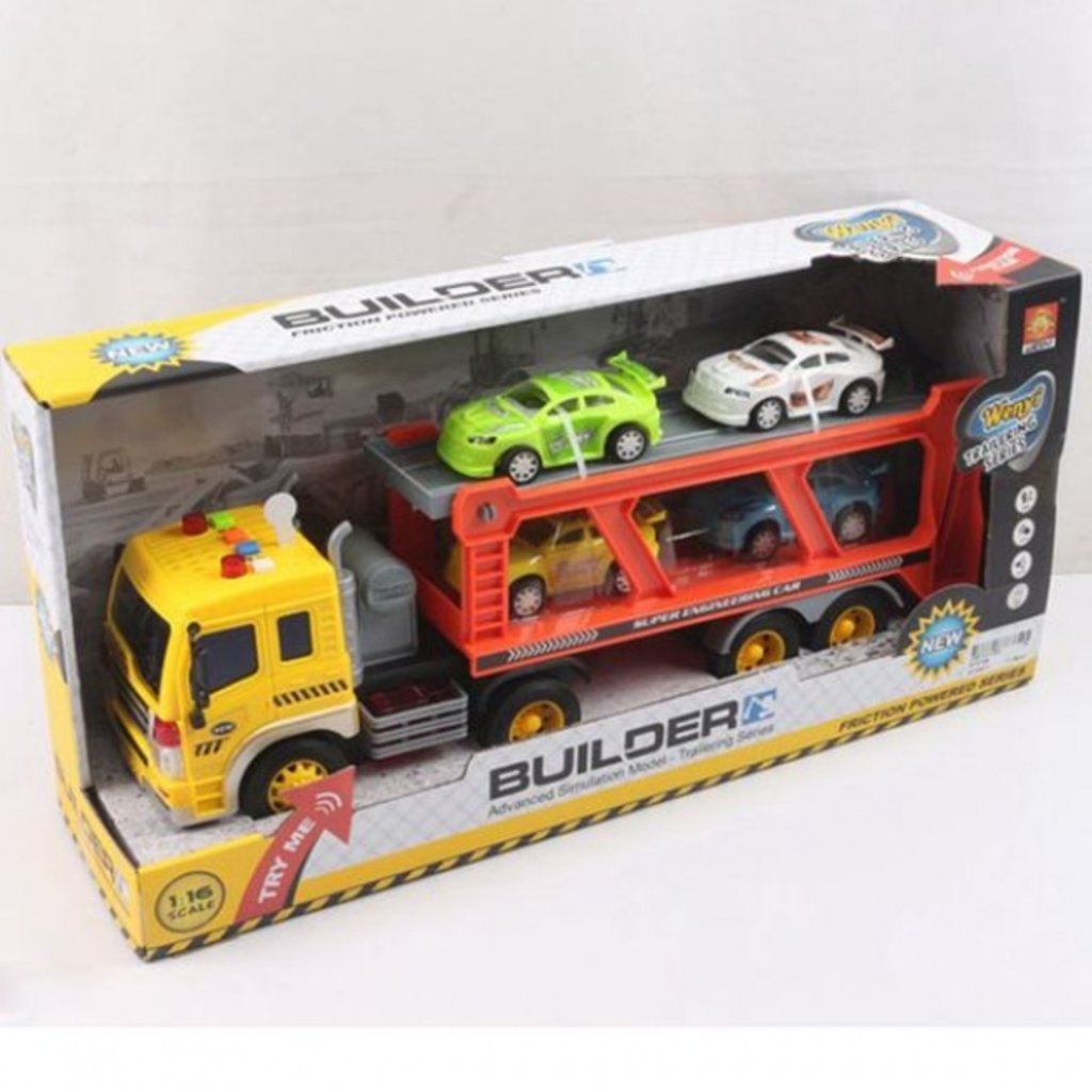 Игрушки для мальчиков: Инерционный Трейлер 42см с машинами 4ШТ. ЗВУК,СВЕТ WY570B в коробке. в Игрушки Сити