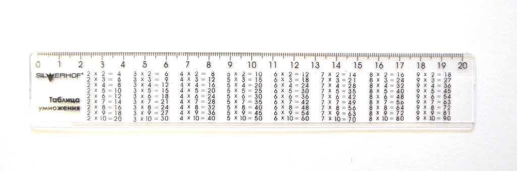 Линейки, рейсшины: Линейка пластиковая с таблицей умножения 20см в Шедевр, художественный салон