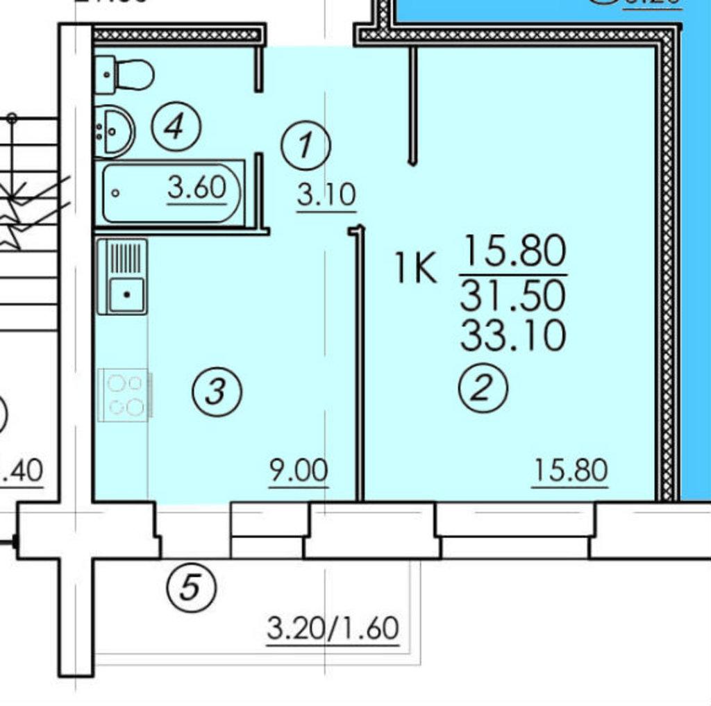 Однокомнатные квартиры: Однокомнатная квартира (№90) в РСУ-15  Специализированный застройщик ООО
