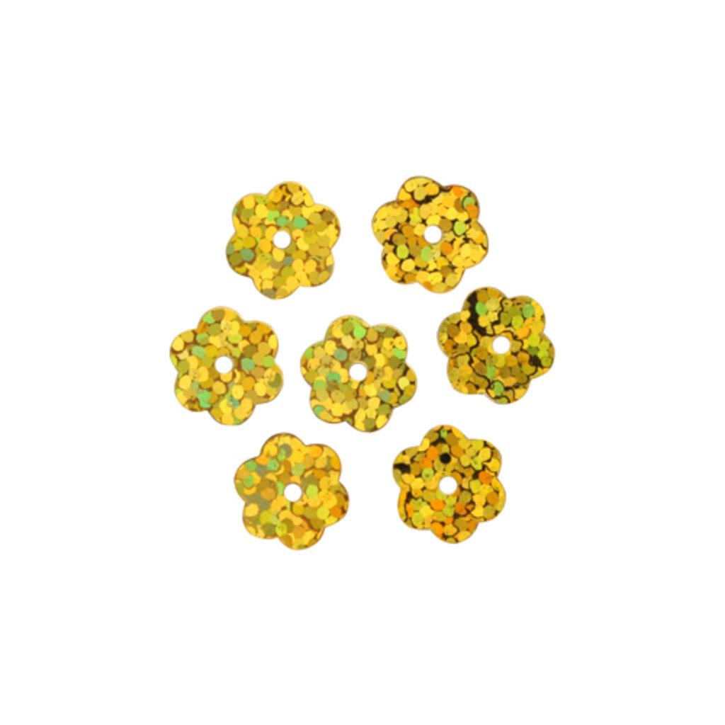 """Цветочки 10мм.: Пайетки""""цветочки""""10мм.,упак/10гр.Астра(цвет:А20 золото голограмма) в Редиант-НК"""
