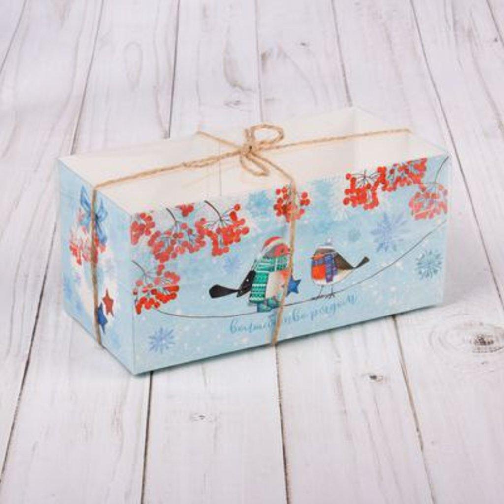 """Упаковка: Коробка для 2 капкейков """"Новогодние снежинки """" в ТортExpress"""