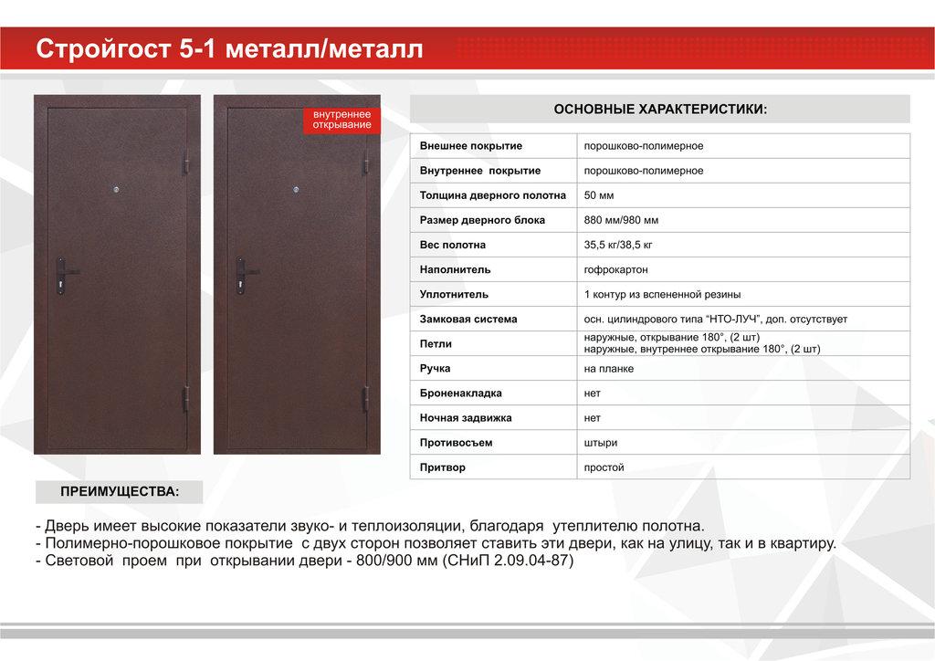 Двери Стройгост: Стройгост 5-1 Металл/Металл Внутреннего открывания в Модуль Плюс