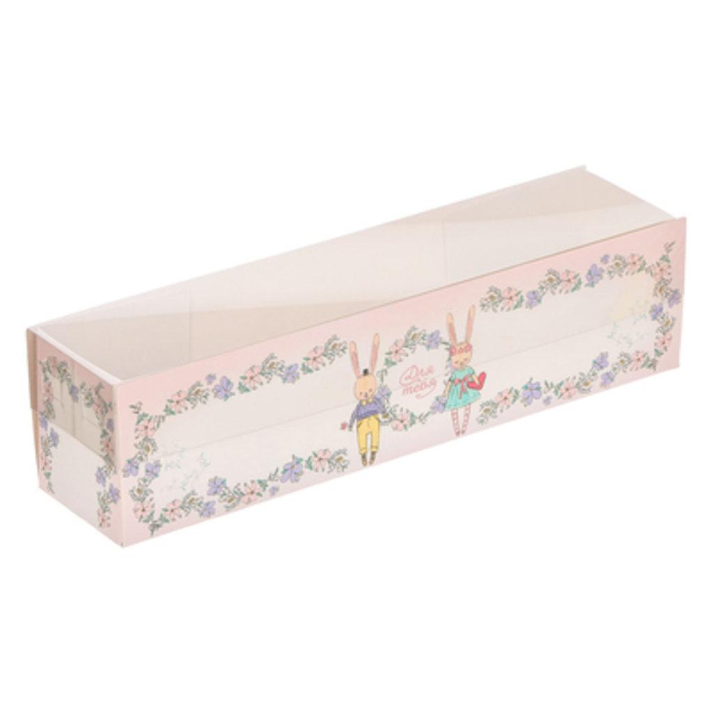 Упаковка: Коробочка для макарун с PVC-крышкой «Для зайчишки», 19,5 × 5 × 4,5 см в ТортExpress