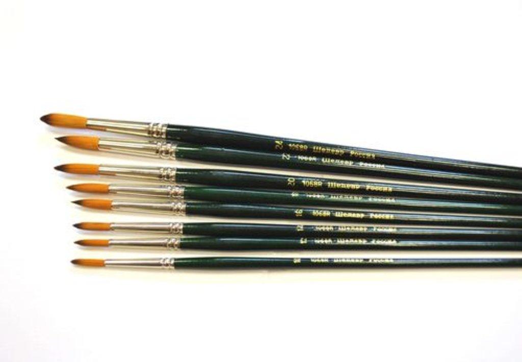 Синтетика: Кисть синтетическая круглая с длинной ручкой Шедевр №16    1068R в Шедевр, художественный салон