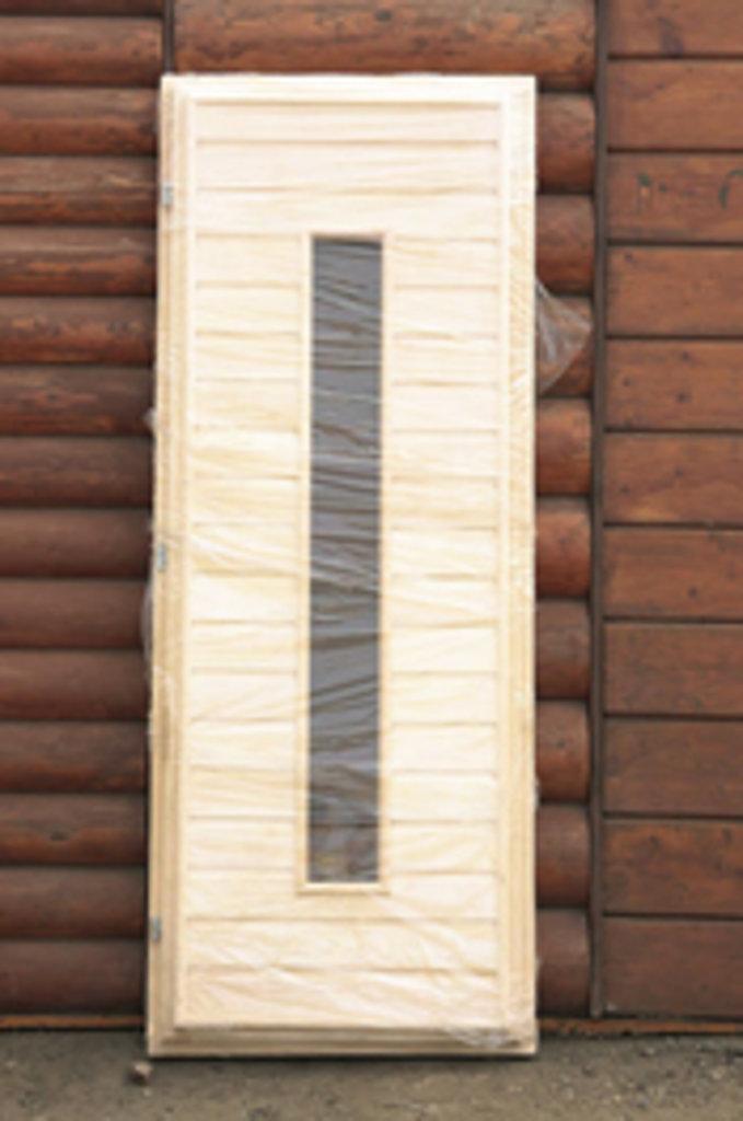 Двери для саун и бань: ДВЕРЬ БАННАЯ ЛИПА  СО СТЕКЛОМ (ДС ВАГОНКА) сорт экстра 70х1700 см. в Погонаж