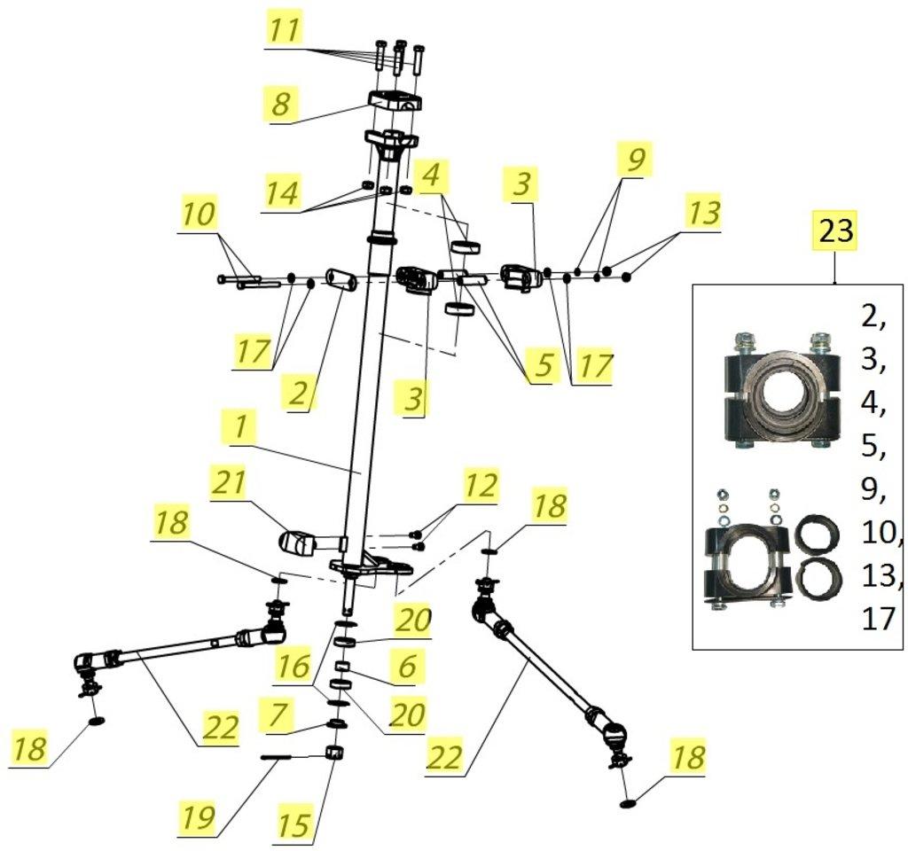 Запчасти для техники PM: Тяга рулевая V10300050 в Базис72