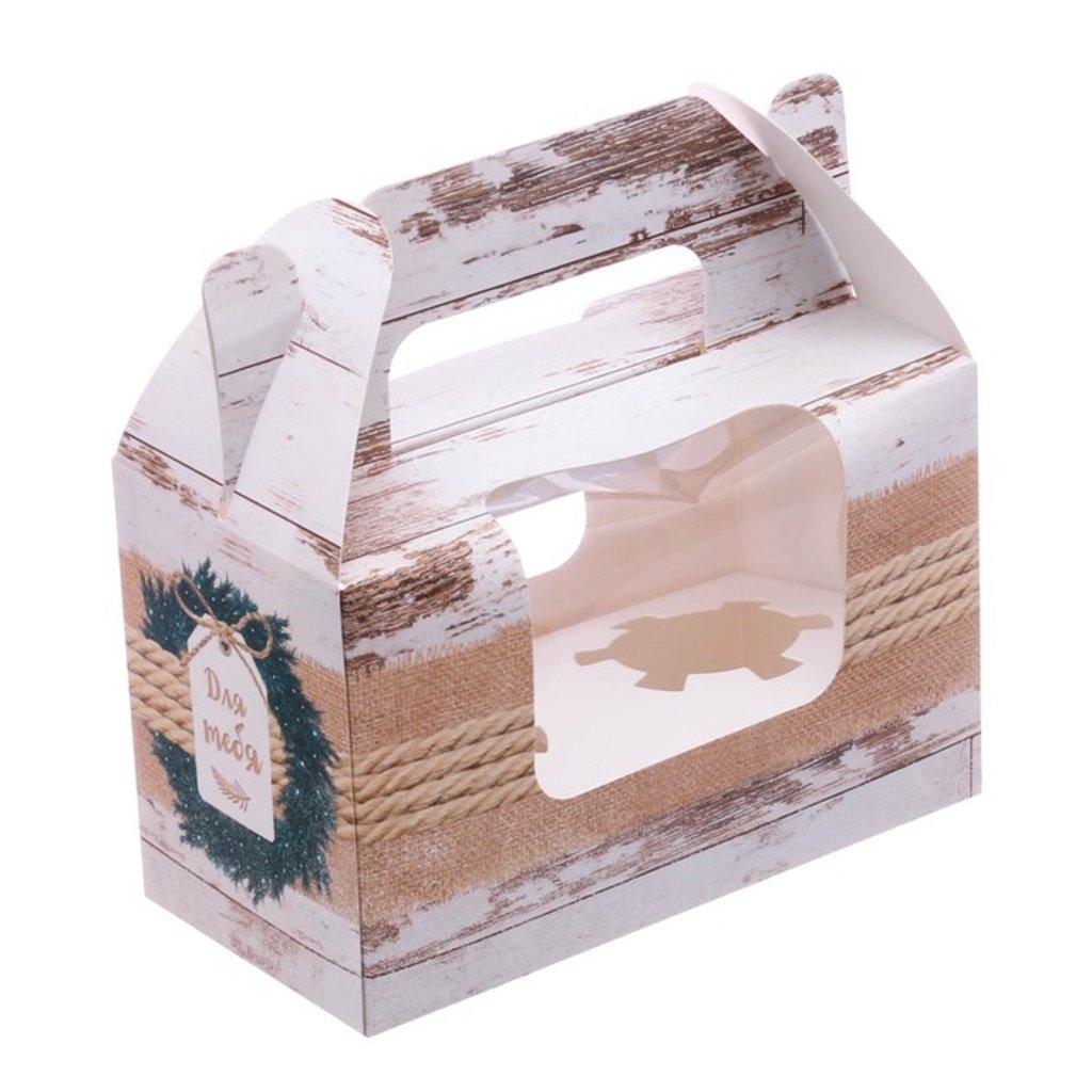"""Упаковка: Коробочка под 2 капкейка  """"Для тебя """" в ТортExpress"""