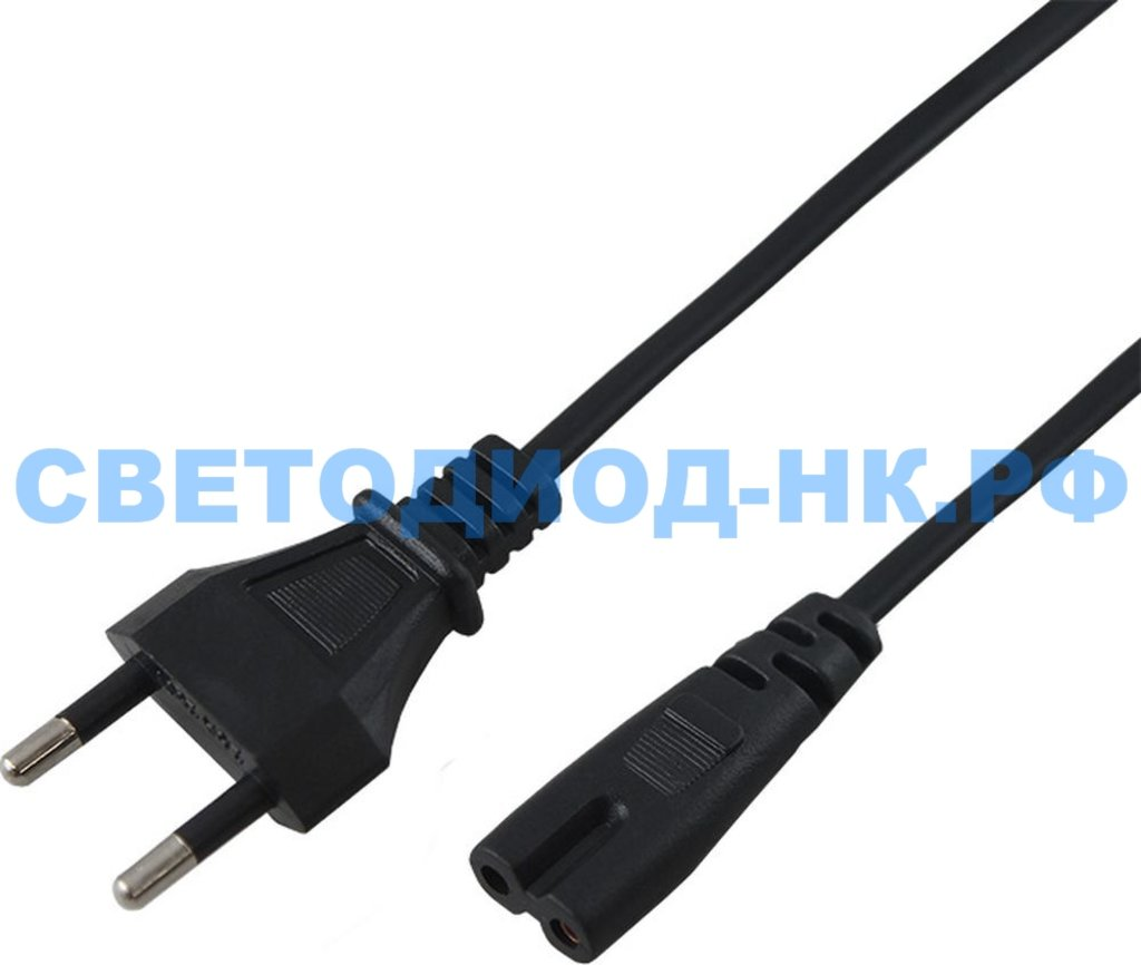 Провод, шнуры, переноски: Шнур сетевой REXANT вилка - евроразъем С7, кабель 2x0,5 мм2, длина 1,8 метра (PE пакет) в СВЕТОВОД