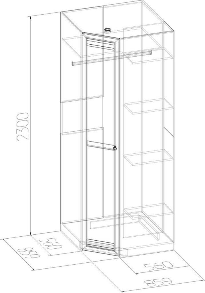 Шкафы для спальни: Шкаф угловой Бриз 56 (Стандарт) в Стильная мебель