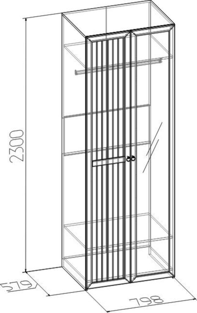 Шкафы для одежды и белья: Шкаф для одежды Марсель 54 (Зеркало+Стандарт) в Стильная мебель