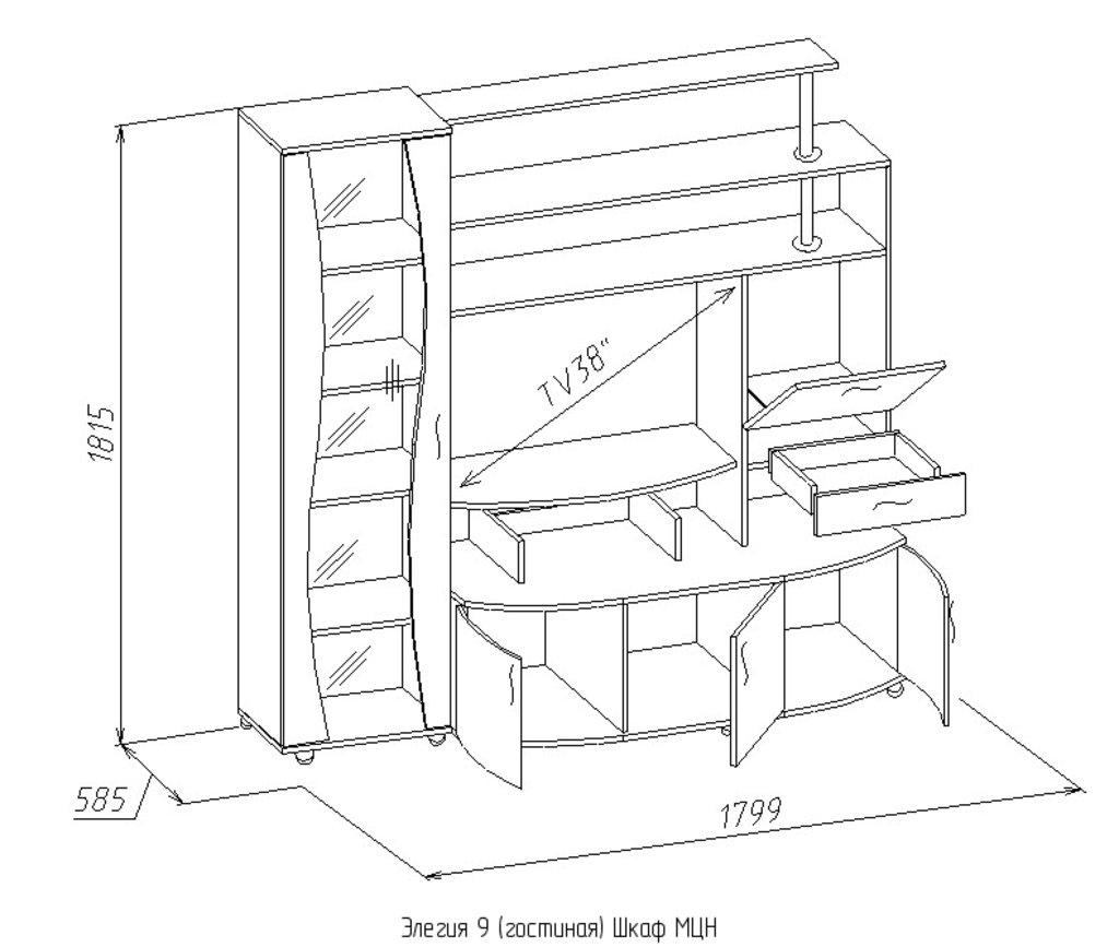 Шкафы, общие: Шкаф МЦН Элегия 9 в Стильная мебель