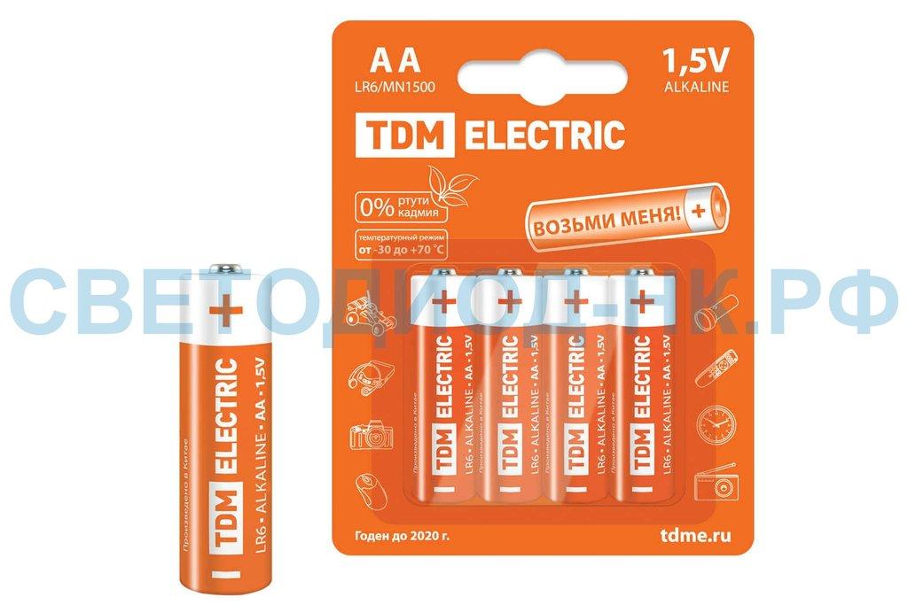 Батарейки: Элемент питания LR6AA Alkaline 1,5V  TDM в СВЕТОВОД