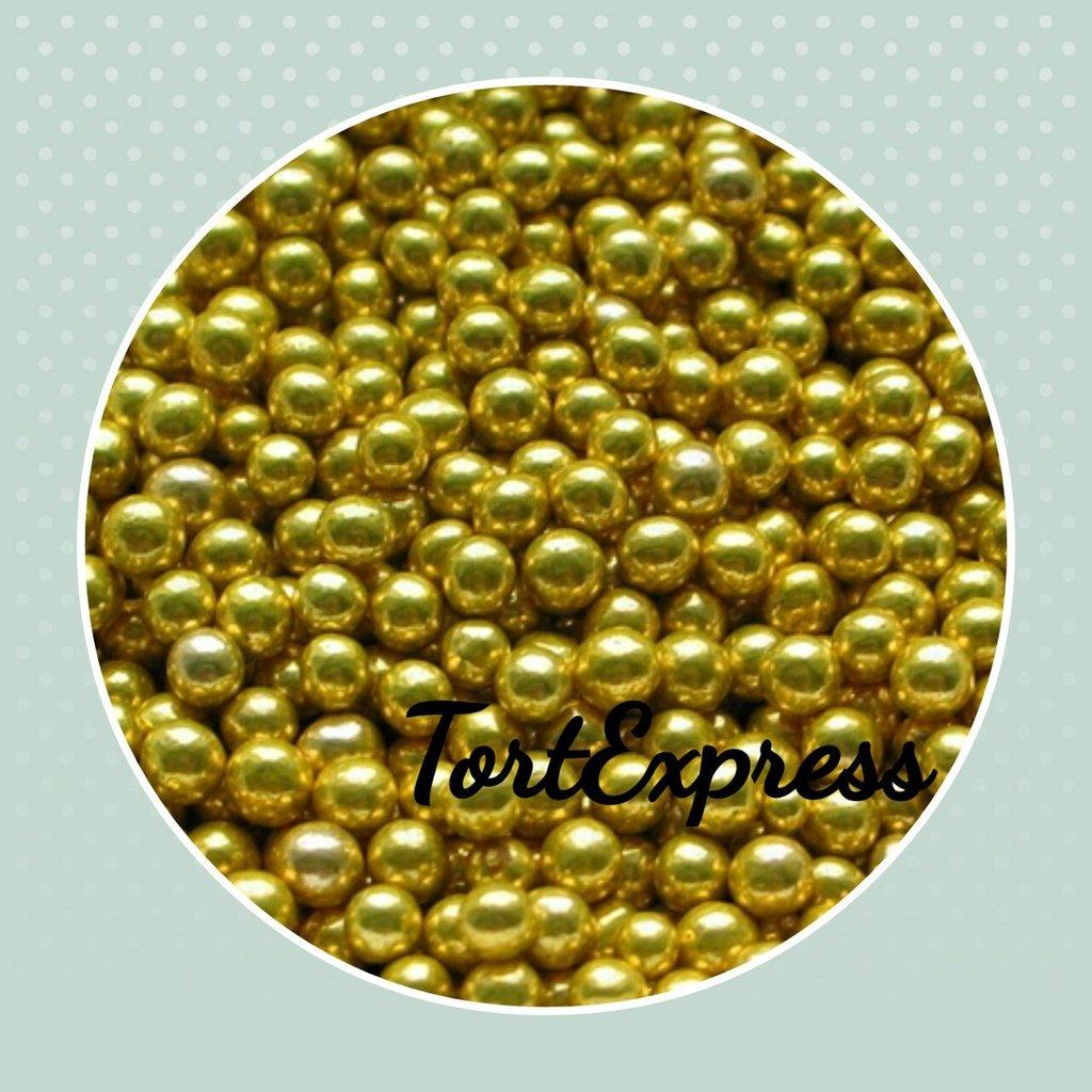 Золотой и серебряный декор: Шарики сахарные золотые 5 мм в ТортExpress