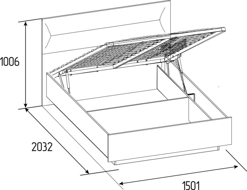 Кровати: Кровать Люкс Neo 308 (1400, мех. подъема) в Стильная мебель