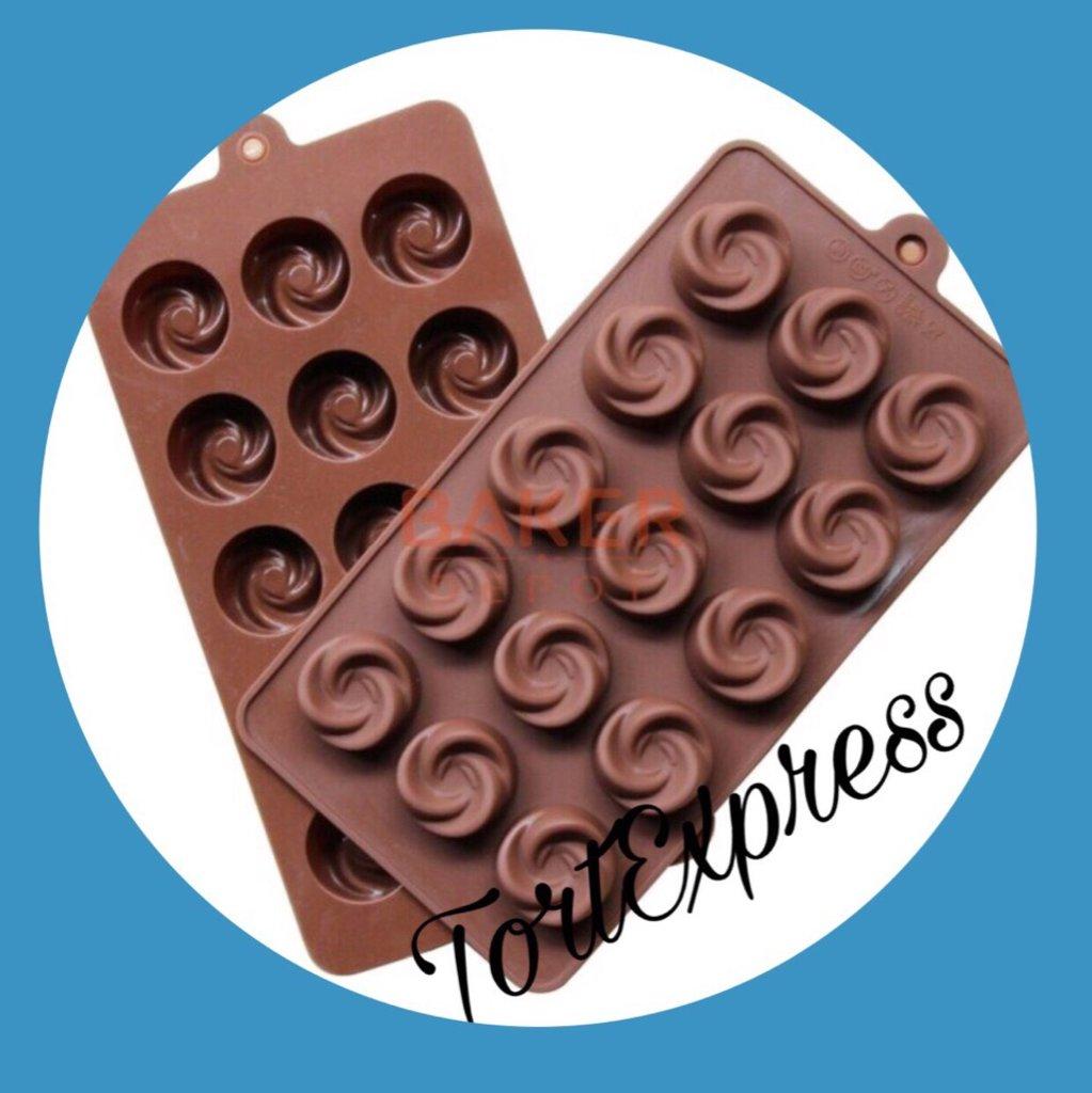 Кондитерский инвентарь: Форма для льда и шоколада Завиток 15 ячеек в ТортExpress
