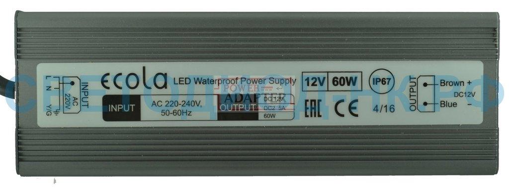 Герметичные IP65, IP67: Ecola Блок питания для св/д лент 12V 60W IP67 B7L060ESB в СВЕТОВОД