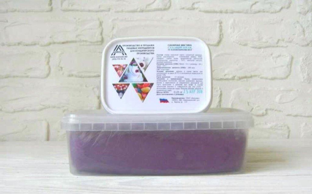 Ингредиенты: Мастика  сахарная для обтяжки Сладкий шелк Темно-фиолетовая в ТортExpress