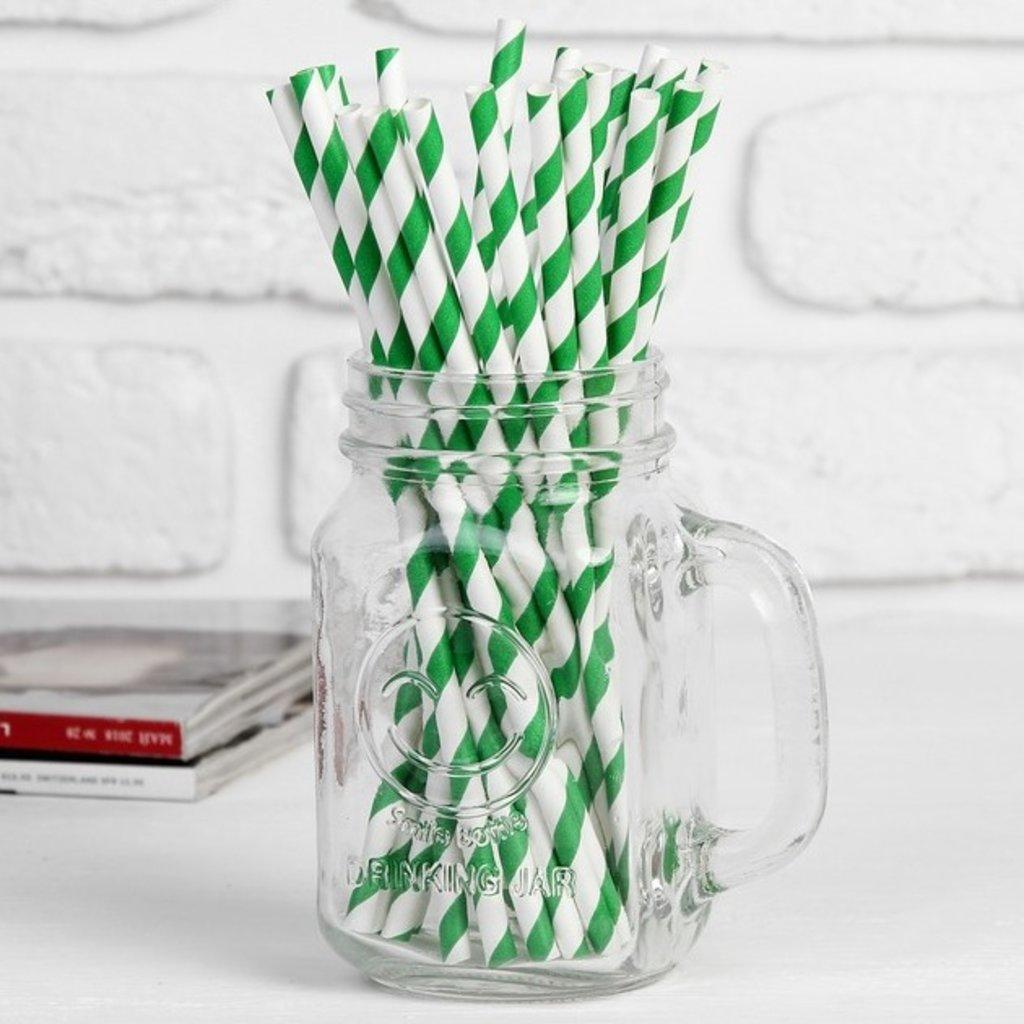 """Упаковка: Трубочка для коктейля """"Спираль"""" набор 25 шт, цвет белый-зелёный в ТортExpress"""