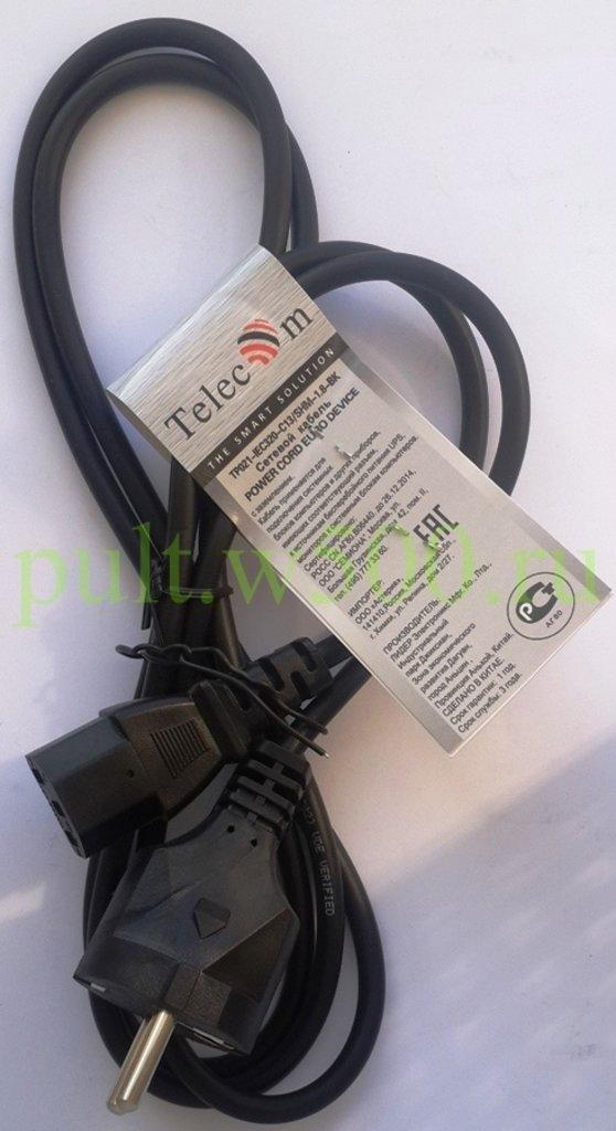 Шнуры питания, разьемы: Шнур сетевой для компьютерной техники 1.8 м. 3x0.50мм2 ( Telecom TP021-IEC320-C13/SHM-1.8-BK ) в A-Центр Пульты ДУ