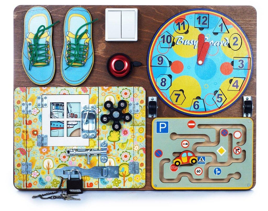 Игрушки для малышей: Развивающая доска №1 для мальчиков (40х50,пазлы,шнур.,магн.часы,лабиринт) дерево BusyBoard. в Игрушки Сити