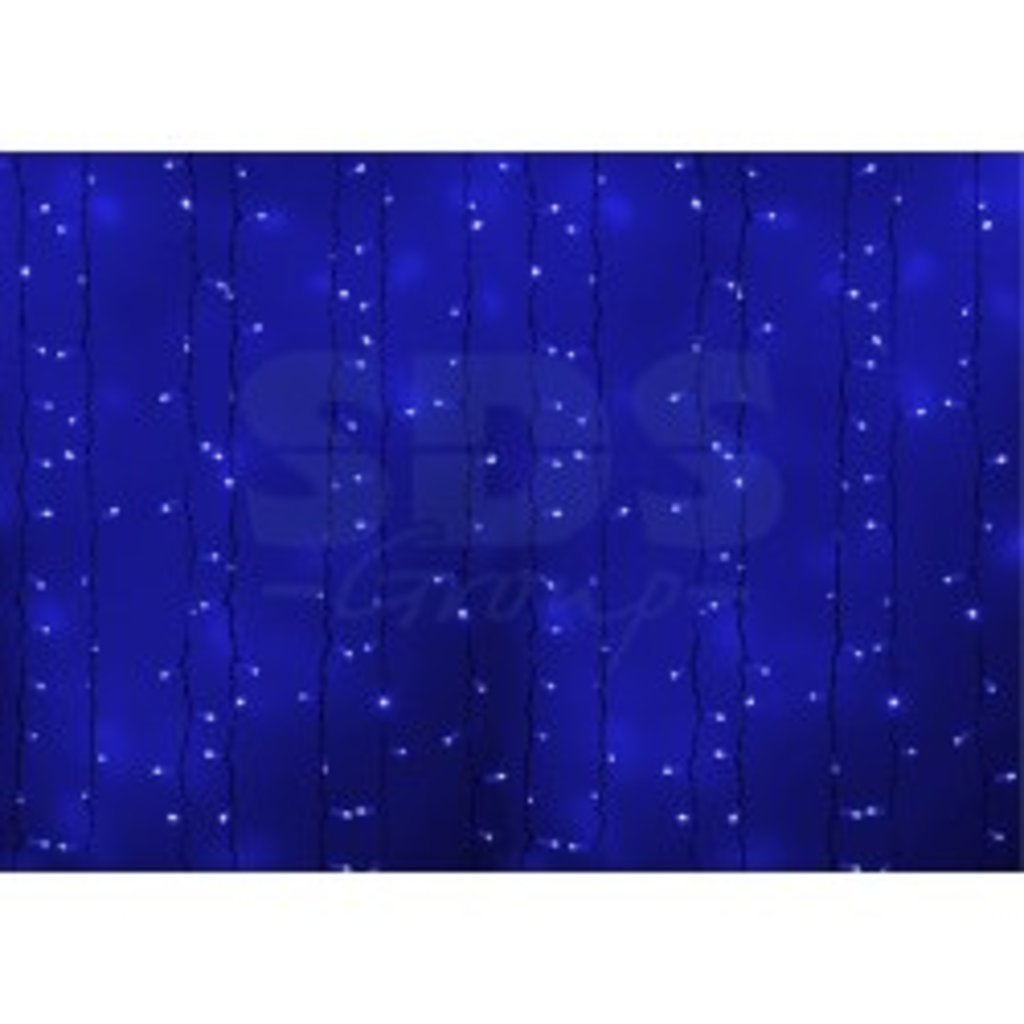 """Светодиодный дождь: Гирлянда """"Светодиодный Дождь"""" 2,0м х 2,0м,постоянное свечение, черный провод, 220В, диоды СИНИЕ в СВЕТОВОД"""
