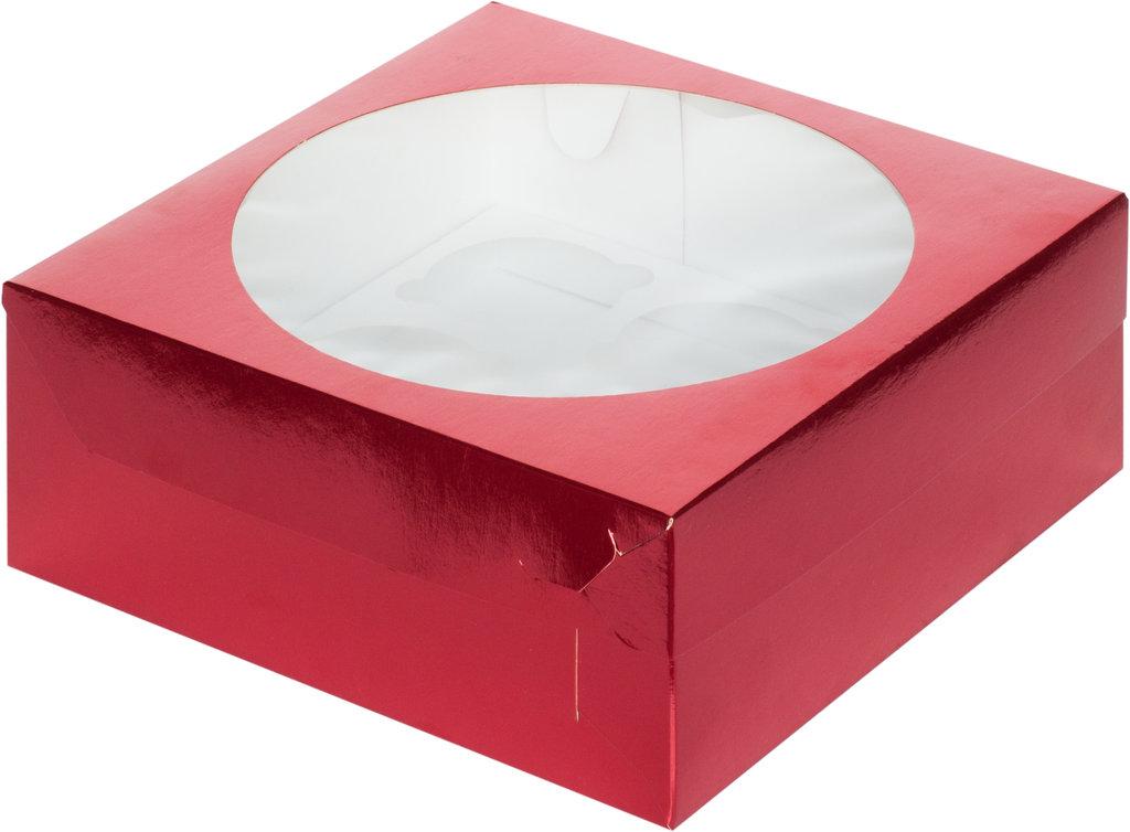 Упаковка: Коробка для 9 капкейков с окном Красная в ТортExpress